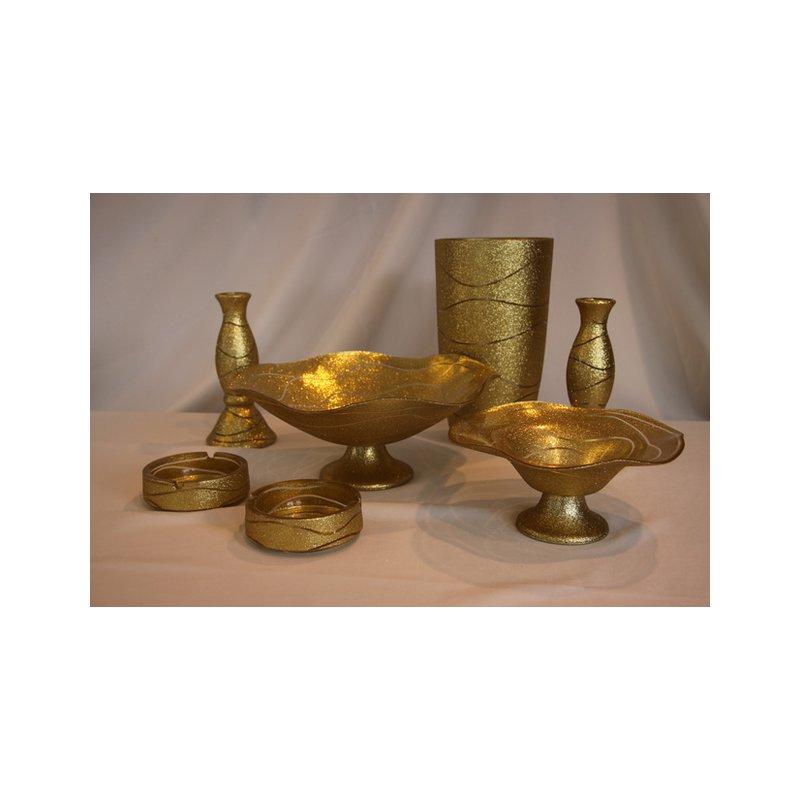 akcam geschenkset 7 teile gold glitter obstschale aschenbecher vase. Black Bedroom Furniture Sets. Home Design Ideas