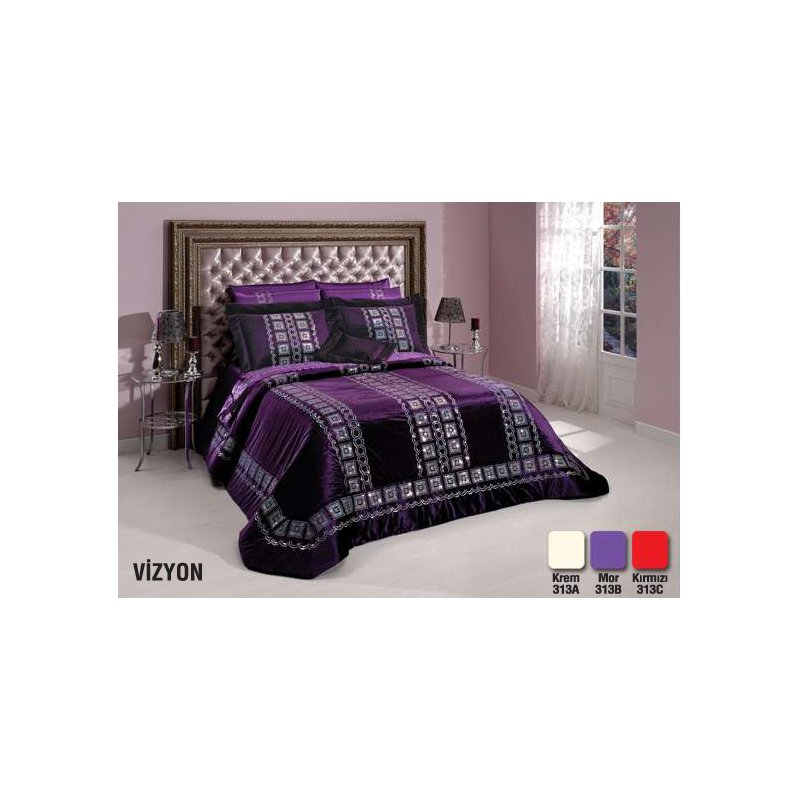 diley bettdecke lila 4tlg tagesdecke bett berwurf set 260x260. Black Bedroom Furniture Sets. Home Design Ideas