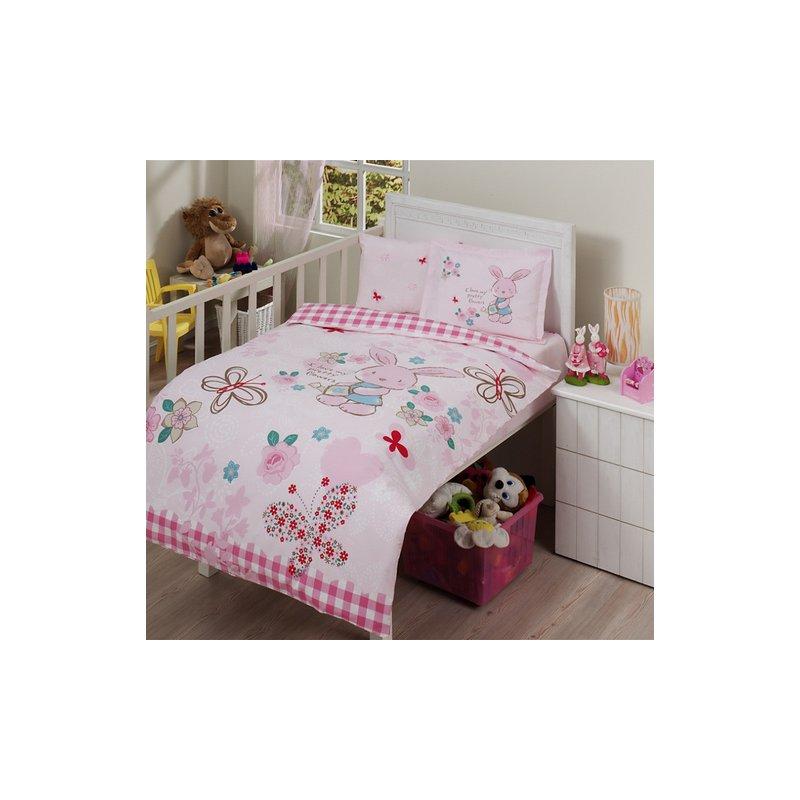 zdilek daunendecken berzug set pink rabbit baby ranforce n. Black Bedroom Furniture Sets. Home Design Ideas